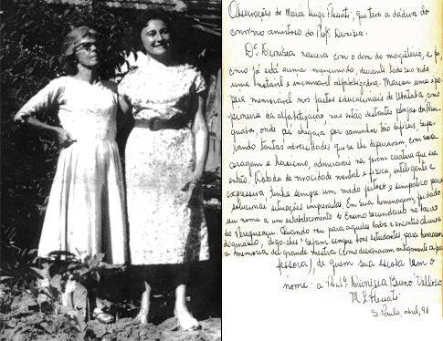 a) Professora Dionísia, à esquerda, ao lado da professora Maria Luiza Flessati. b) Observações de Maria Luiza Flessati. - Imagem: © Arquivo Nenê Velloso