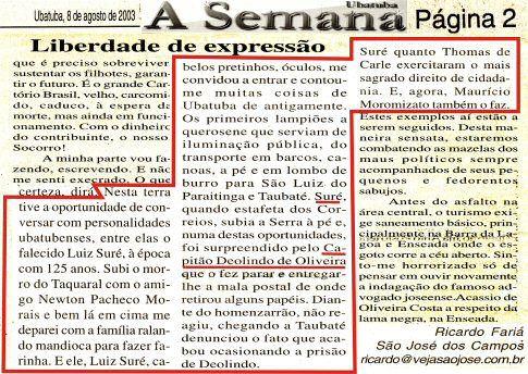 Trecho do jornal `A Semana´. - Imagem: © Arquivo Nenê Velloso